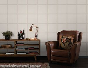 Leather Stitch Tile Panel 3D Effect Wallpaper Feature Teal Chocolate White Cream