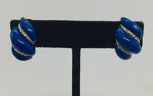 Tiffany & Co. Italy Authentic 18k Yellow Gold Diamond Blue Enamel Clip Earrings