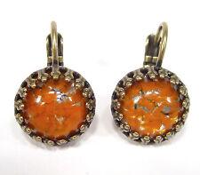 SoHo® Ohrhänger Ohrringe bohemia Glas handgemachte Glassteine orange silver