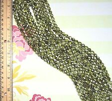 """SPECIAL 2 Strands 16"""" Czech Faceted Metallic Half Coat Olivine 8 mm Round Beads"""