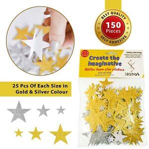 SKIZMA Glitter Foam Star Stickers - Pack of 150 Self Adhesive in Gold & Silver