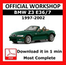OFFICIAL WORKSHOP Manual Service Repair BMW Series Z3 E36/7 1997 - 2002