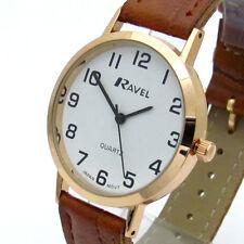 Ravel Mens Super-Clear Easy Read Quartz Watch Brown Band White Face R0102.14.1A