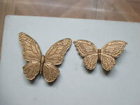 Vintage 1967 Set of Home Interiors GOLD BUTTERFLY WALL Plaques #7040/7041 NICE
