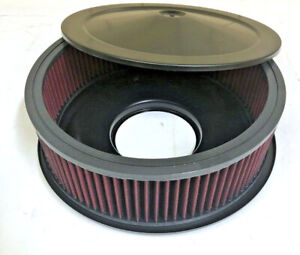 "14"" x 5"" Black Air Cleaner Flat Base Red Washable Filter Chevy Ford Street Rod"