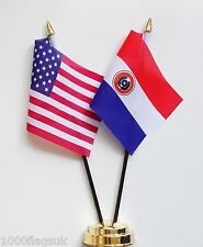 United States of America & Paraguay 1990 to 2013 Double Friendship Table Flags