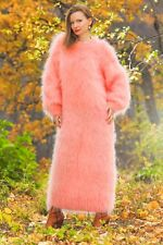 New pink hand knit sweater slouchy long dress extra fuzzy gown SUPERTANYA SALE