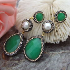 AB082514 White Pearl Green Jade Trimmed With Marcasite Earrings 925 Silver Stud