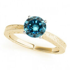 0.75 Ct Fancy Blue Diamond Solitaire Engagement Ring Stunning 14k Yellow Gold