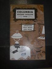 COLUMBIA FOLK AND BLUES RECORD CATALOG 78 RPM RECORDS 1948