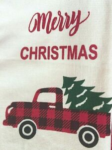 SLEIGH HILL CHRISTMAS DISH TOWEL SET OF 2 W/VINTAGE RED TRUCK TREE HOLIDAY RIDE