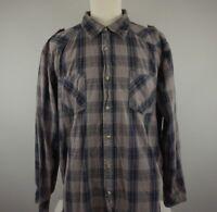 Levis Signature Mens Shirt XL Brown Black Plaid Long Sleeve Pearl Snap