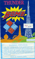 Thunder Bomb Firecracker Label from a bundle of 40/50's - very good condition