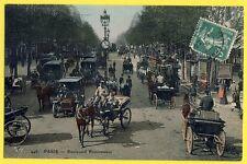 Magnifique Carte Ancienne de PARIS Bd POISSONNIÈRE Transport Attelages Voitures