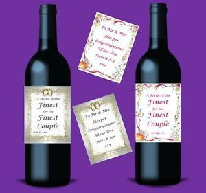 Mrs & Mrs Personalised Bottle Labels For Wine Champagne Engagement Wedding Gift