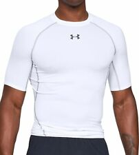 Under Armour HeatGear Mens Compression Top White Short Sleeve Gym Sport Training