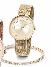 "Lambretta ""Cielo 34 Stones Gold"" Quartz Swarovski Woman's Watch+ Bracelet Set#Z"