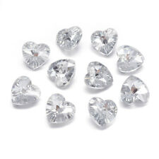 10PCS Glass Pendants Faceted Heart For Bracelet Making Clear Silver Plated 14mm