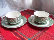 OLD CURIOSITY SHOP~TEA CUP & SAUCER 2 Sets~Royal China~Vintage green