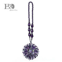 Purple Hanging Rainbow Suncatcher Crystal Peony Prism Feng Shui Pendant Decor