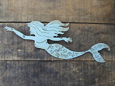 Aqua MERMAID Die Cut = Beach Nautical Mystical = Bathroom Wall Decor Metal Sign