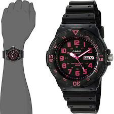 Casio MRW-200H-4C Mens Analog Watch Pink Fusia 100m WR Day Date Neo Display New
