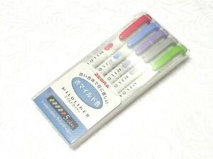 (5 Colors Pack set) Zebra MILDLINER Double Side Highlighter, WKT7-5C-NC