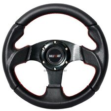 Black PVC Leather Carbon Look Red Stitch 280MM Steering Wheel Ralliart Horn
