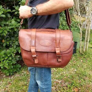 Bob Timberlake Chestnut Leather Shoulder Mail Briefcase Messenger Laptop Bag