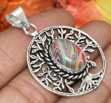 Rainbow Calsilica Gemstone Tree of Life Pendant 925 Silver Plated U336-A103