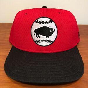 Buffalo Bisons Hat Baseball Cap Fitted 7 1/2 New Era Vintage Red MiLB Mesh BP