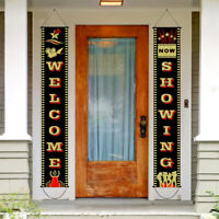 """""""Welcome Showing"""" Porch Sign Banner Baby Shower Favors Film Night Party Decor"""