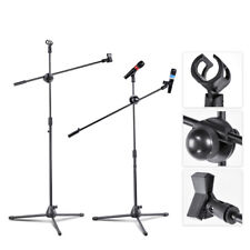 Telescopic Boom Microphone Stand Adjustable Mic Holder Tripod Two Clip Foldable