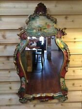 Italian Rococo Wood Carved Gold Gilt Mirror With Hand Painted Scene's