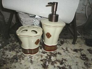 CROSCILL BELLISSIMA RED GOLD CREAM FLORAL CERAMIC (2PC) SET LOTION & TOOTHBRUSH