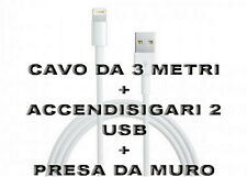 Kit Carica Batteria Auto 2 Usb Per iPhone 6S 6 5S Plus iPod iPad Cavo 3M Light