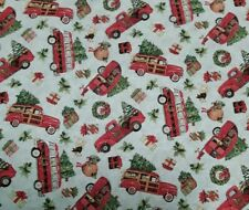 """New, 45"""", 100% Cotton, Susan Winget, """"Red Truck Toss"""", Christmas."""