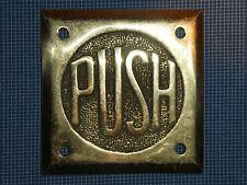 RARE 1930s OLD ORIGINAL ART DECO PERIOD BRASS ''PUSH'' DOOR SIGN VINTAGE ANTIQUE