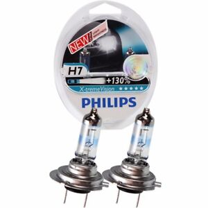 GENUINE PHILIPS X-TREME VISION +130% H7 HEADLIGHTS BULBS TWIN PACK - NEW