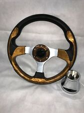 "Club Car DS Golf Cart 13"" WOOD GRAIN Steering Wheel w/ CHROME Adapter & Hardware"