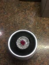 Sterling Silver Ruby & Clear Topaz Ring Sz 8