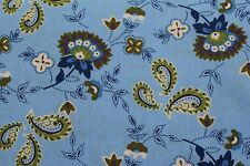 100 % Cotton fabric ~ Blue with purple,green,blue & white design ~ BTY