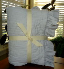 Pottery Barn Kids 3 Pc Set Ruffle Baby Bedding Quilt Sham & Crib Skirt New Grey