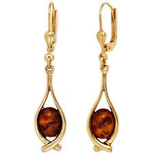 Pendientes Ámbar Naranja-Marrón Oro 375 Oro Amarillo Pendientes Mujer