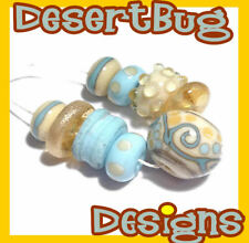 BEACH COLLECTION Handmade Lampwork Beads - Ivory Turquoise Gold Summer Colors