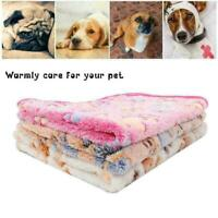 Warm Pet Cat Dog Mat Small Large Paw Print Puppy Fleece Cushion Blanket Bed Q7Y8