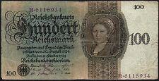 1924 Alemania 100 reichsmarks billete * B 6116934 * AF * P-178 *