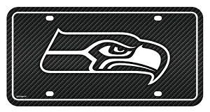 Seattle Seahawks Metal Tag License Plate Carbon Fiber Design Premium Football