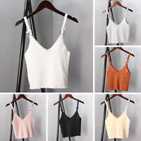 Women Spaghetti Strap V Neck Vest Cami Tank Bardot Crop Top Blouse Clothing New