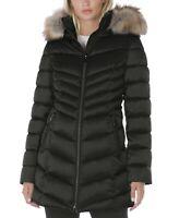 International Concepts INC Womens Faux-Fur Trim Hooded Puffer Coat XS Black